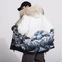 Mens Faux Fur Hooded Winter Thick Mountain Casual Jacket Parka Winter Outwears