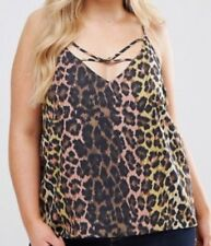 NEW NWT Women ASOS leopard Print Strappy V-neck Sleeveless Tank Top Sz 4