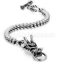 Men's Biker Stainless Steel Heavy Dragon Head Cuban Chain Bracelet Wrist Link