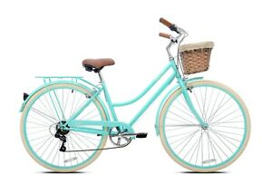 700c Belle Aire Beach Cruiser Bike, Light Aluminum Frame, 7-Speed, Aqua