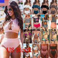 Womens High Waisted Bikini Set Push Up Padded Bra Swimsuit Bathing Suit Swimwear