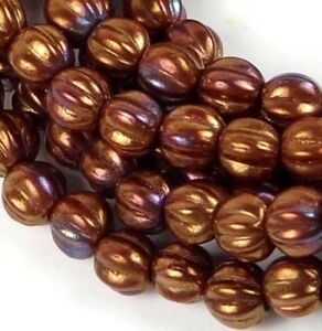 50 Czech Glass Carved Melon Round Beads - Bronze Luster Iris - Opaque Red 5mm