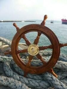 Nautical 24 Inch Wooden Ship Wheel Vintage Handcrafted Home Wall Decor Gift