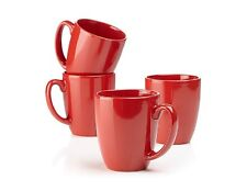 4 Corelle 11-oz BRIGHT HOLIDAY RED Stoneware Mugs *Winter Holly -Cheerful Flurry