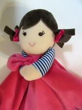 Carter's Pink LOVE YOU Doll Lovey Silky Security Blanket Baby Rattle Brown hair