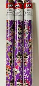 3 New L.O.L. Dolls Purple CHRISTMAS 20sq ft WRAPPING Paper Glamour LOL Snow