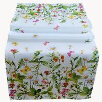 Tischläufer 40 x 140 cm Tischdecke Tischdeko Frühling bunt Blumen Schmetterlinge