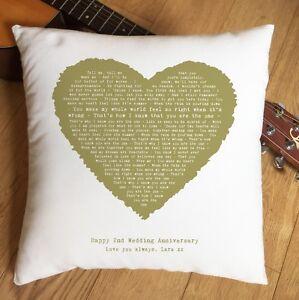 Kodaline The One Lyrics Music Heart Cushion - 2nd Cotton Anniversary Gift