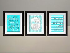 Turquoise Gray Chevron Bathroom Rules Wall Art Print 8x10 poster SET