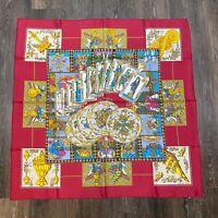 "HERMES Vintage 1991 Red ""Le Tarot"" Tarot Card Motif Annie Faivre Silk 90cm Scarf"