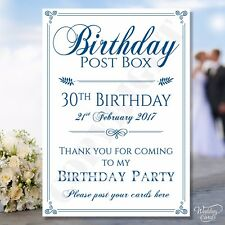 Personalised Birthday Post Box Sign Party Card A4 A5 A6 Gift Anniversary Date