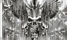 Death Takes Flight - Winged Skulls Pierced By Daggers Dark Fantasy 5'x3' Flag