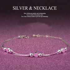 New Women 925 Sterling Silver Rhinestone Love Heart Bangle Cuff Bracelet Jewelry