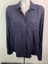 Cloth & Stone Sz L Navy Blue Button Front Blouse Frayed Hem Roll Tab Long Sleeve