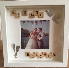 *Wedding Day, Mr & Mrs, Engagement* hand made scrabble art/tile photo frame