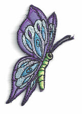 BUTTERFLY - SIDE - PURPLE, LAVENDER, BLUE & GREEN/Iron On Embroidered Applique