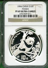 CHINA  1994 PANDA  SILVER PROOF   1 OZ  10 YUAN  NGC PF 69 ULTRA CAMEO