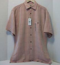 Mens MODA CAMPIA Button Down SS Shirt Microfiber Reddish/Vanilla Plaid Size Med