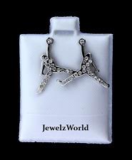 Jumpman Logo Cz Stud Earrings Brand New Silver Michael Jordan