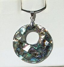 Paua Shell Abalone Inlay Mosaic Pendant comes w/ Adjustable Cord Free Shipping!