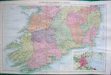 1934 LARGE MAP ~ IRELAND SOUTHERN LEINSTER IRISH FREE STATE DUBLIN ENVIRONS