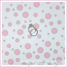 BonEful Fabric FQ Cotton Quilt White Pink Paris Bebe Baby GIRL Dot Bubble Gum NR