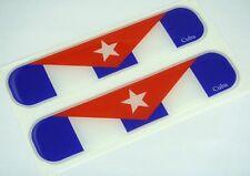 """Cuba, Cuban Flag Domed Decal Emblem Car Flexible Sticker 5"""" Set of 2"""