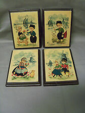 Set of 4 Adorable Dutch Kids Wooden Wall Plaques