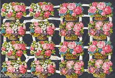 ROSES FLORAL  BASKETS BOKAY ARRANGEMENT TAG GERMANY PAPER EMBOSSED PINK SCRAP