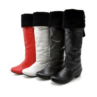 Women's Synthetic Leather Low Cuban Heel Knee High Boots Shoes US All Size b069