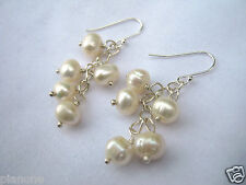 Sterling Silver .925 White Freshwater Pearl Dangle Cluster Earrings