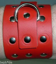 Echt starkes Leder-Armband Rot mit Ziernieten D-Ring + Schnallenverschluß LWPH