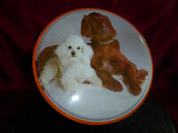 VINTAGE BISCUIT TIN Companions Dogs white Poodle, brown Setter Food Advertising