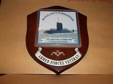 Royal Navy Submariner Veteran Wall Plaque with name rank & number printed free.