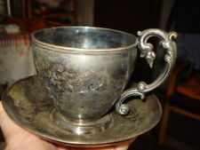 ANTIQUE SILVER  CUP/SAUCER RARE