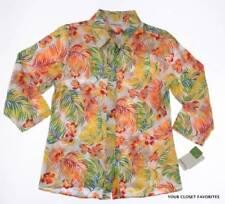 New Breckenridge Womens Plus sz 1X Button Down Shirt Bright Colorful 3/4 Sleeves
