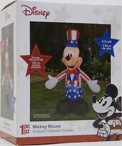 Disney 5 ft LED Mickey Mouse American Patriotic Uncle Sam Airblown Inflatable