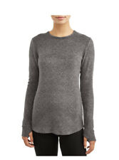 ClimateRight Cuddl Duds Stretch Fleece Long Sleeve Crew Grey Small S Top Shirt