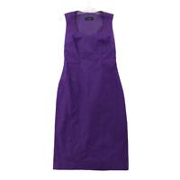 Piazza Sempione Women's A-Line Tank Dress Italian Size 40 Cotton Purple V-Neck