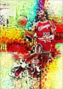 2019 Michael Jordan Bulls 22/25 Art ACEO Air  Sketch Print Card By:Q