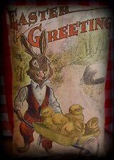 Easter antique vintage retro bunny suit rabbit wheelbarrow spring chicks
