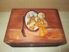 Vintage Wood Painted Girl in Mirror Trinket Storage Box Hand Crafted Folk Art