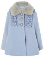 Monsoon NEW Girls Pale Blue Fur Neck Party Winter Jacket Coat Age 1 to 4 Years