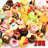 20 Pcs Multicolor Mixed lot Food Resin Flatback Kawaii Cabochons Decoden Pieces