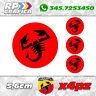 KIT 4 ADESIVI ABARTH COPRI MOZZO sticker FIAT 500 595 695 red & black