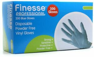 Finesse Professional Disposable Vinyl Gloves 200 Blue Gloves Medium/Large