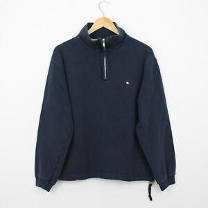 R55 Vtg Champion USA 90s Men Blue 1/4 Zip Sweatshirt Jumper Pullover Size M