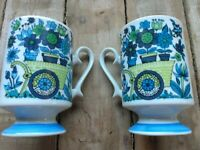 Vintage Young Lovers Garden Flowers Coffee Tea Cup Blue Purple Green