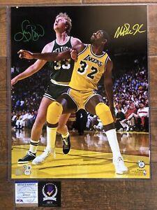 Larry Bird Magic Johnson autographed signed Locked Up 16x20 photo PSA Witnessed