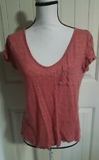 Paige Red / White Stripe Short Sleeve Top 100% Linen Women Size Small S